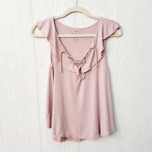 3 for $25 AE Soft & Sexy Pink Ruffled Tank Blouse